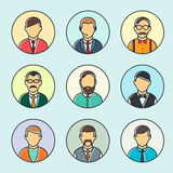 Colorful Male Faces Set Royalty Free Stock Photo
