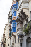 Colorful Maltese balconies in capital of Malta - Valletta, Europ. E Stock Photos