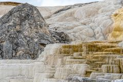 Colorful Mammoth Springs geothermal feature in Yellowstone NP stock photos