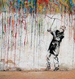 Colorful man graffiti. Man under the color rain in ukraine Royalty Free Stock Image
