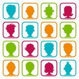Colorful Man and Woman Avatars Stock Photos