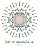 Colorful mandala in bohemian style. Native American vector ornament painted with grunge brushes Royalty Free Stock Photos