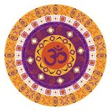 Colorful mandala with om symbol Royalty Free Stock Photography