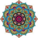 Colorful mandala, purple, green, gray, gold colors stock images