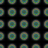 Colorful Mandala Seamless Pattern on a Black Background Royalty Free Stock Images