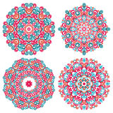 Colorful mandalas in oriental style. Set of round ethnic patterns. Traditional lace ornaments. Royalty Free Stock Photography