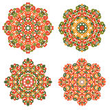 Colorful mandalas in oriental style. Set of round ethnic patterns  on white background. Traditional lace Stock Photo