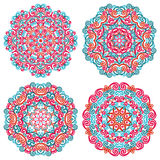 Colorful mandalas in oriental style. Set of round ethnic patterns  on white background. Traditional lace ornaments. Vector illustration Royalty Free Stock Photo