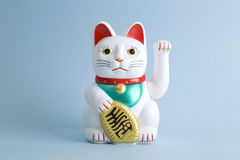 Colorful Maneki Nako. A Maneki-neko plastic cat, Symbolizing luck and wealth, on a pop and colorful background. Minimal color still life photography royalty free stock photo