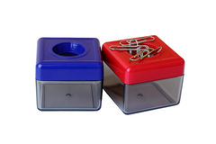 Colorful manetic plastic boxes Stock Image