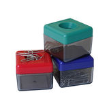 Colorful manetic plastic boxes Royalty Free Stock Images