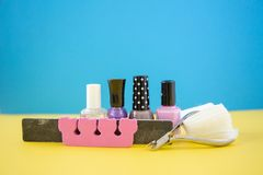Colorful manicure and pedicure stock photo