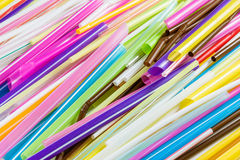 Colorful Many Plastic  straws Stock Photos