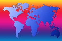 Colorful map. Earth map on a rainbow background Stock Images