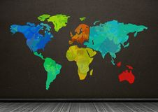 Colorful Map with brown wall background. Digital composite of Colorful Map with brown wall background Stock Images
