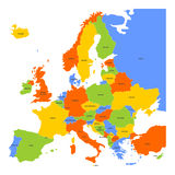 Colorful map of Europe Stock Images