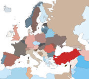 Colorful Map of European Countries Stock Photo