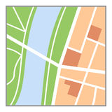 Colorful Map Flat Icon Isolated on White. Generic nameless city map flat icon with streets, green belts and a river, isolated on white background. Eps file Royalty Free Stock Images