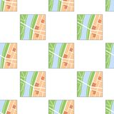 Colorful Map Flat Icon Seamless Pattern. A seamless pattern with a generic nameless city map flat icon with streets, green belts and a river, isolated on white Royalty Free Stock Photo