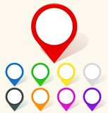 Colorful map pin icon in flat style Stock Image