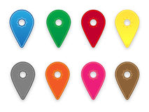 Colorful map pins. Set of map pins in various colors vector illustration