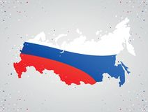 Colorful map of Russia. Flag colors of russia inside map on gray background with colorful dots around Royalty Free Stock Photo
