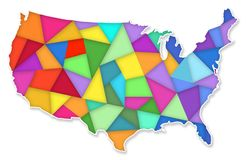 Colorful Map of the United States. Colorful Map Outline of the United States of America with blues greens and reds triangle tapestry vector illustration