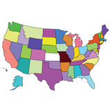 Colorful map of usa Royalty Free Stock Photo