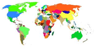 A colorful map of the world vector illustration