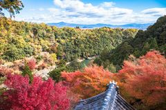 Arashiyama. Colorful of maple forest on the mountain at autumn season in Arashiyama, Kyoto, Japan. From observation view point at Senkoji temple, over hozu river stock photo
