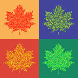 Colorful maple leaves isolated Halftone autumn background. Set of colorful maple leaves on isolated background. Halftone design elements, graphics autumn Royalty Free Stock Images