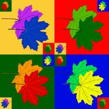 Colorful maple leaves. Multi-colored maple leaves on four colored fields and with copies in the corners and in the center vector illustration