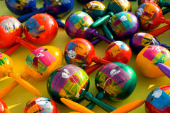 Colorful Maracas. Colorful hand painted maracas at a Mexican market Royalty Free Stock Images