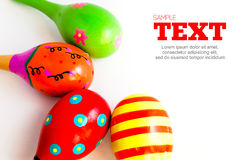 Colorful maracas with copyspace area Royalty Free Stock Photos