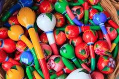 Colorful maracas from Mexico handcraft painted. Souvenir Stock Photos