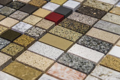 Colorful marble and granite kitchen worktops Stock Image
