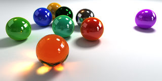 Colorful marbles on white background stock illustration
