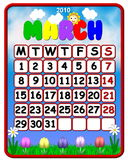 Colorful March 2010 Calendar. An illustrated March 2010 calendar with a colorful theme of spring showing sun and flowers Stock Images