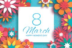 Colorful 8 March. Happy Women`s Day. Mother`s Day. Paper cut Floral Greeting card. Origami flower. Text. Square frame. Spring blossom. Seasonal holiday on sky Royalty Free Stock Photo