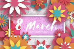 Colorful 8 March. Happy Women s Day. Pink Paper cut Floral Greeting card. Origami flower. Rectangle Frame, space for. Colorful 8 March. Happy Women s Day.Pink Royalty Free Stock Photo