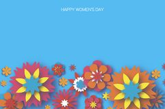 Colorful 8 March. Happy Women`s Day. Trendy Mother`s Day. Paper cut Floral Greeting card. Origami flower. Space for Text Stock Images