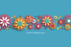 Colorful 8 March. Happy Women s Day. Trendy Mother s Day. Paper cut Floral Greeting card. Origami flower. Space for Text. Spring blossom on sky blue. Seasonal vector illustration