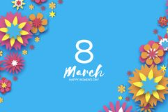 Colorful 8 March. Happy Women s Day. Trendy Mother s Day. Paper cut Floral Greeting card. Origami flower. Space for Text. Spring blossom on sky blue. Seasonal Stock Photo