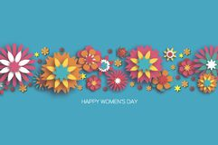 Colorful 8 March. Happy Women`s Day. Trendy Mother`s Day.. Paper cut Floral Greeting card. Origami flower. Space for Text. Spring blossom on sky blue. Seasonal Stock Photography