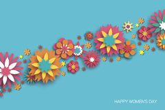Colorful 8 March. Happy Women s Day. Trendy Mother s Day. Paper cut Floral Greeting card. Origami flower. Space for Text. Spring blossom on sky blue. Seasonal Royalty Free Stock Images