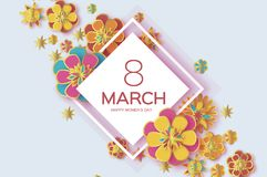 Colorful8 March. Happy Women s Day. Trendy Mother s Day. Paper cut Floral Greeting card. Origami gold flower. Text. Rhombus frame. Spring blossom. Seasonal vector illustration