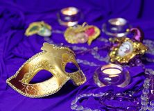 Colorful Mardi Gras or Carnival masks group on a purple background. Colorful Mardi Gras or Carnival masks group on a purple background royalty free stock image
