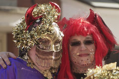 Colorful Mardi Gras Duo Stock Images