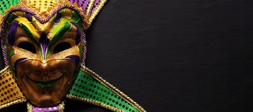 Colorful Mardi Gras mask background royalty free stock image