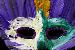 Colorful Mardi Gras Mask. A close up photo of a Mardi Gras Mask with purple, gold, and green colors and feather textures royalty free stock photos